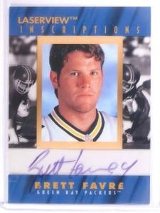 1996 Pinnacle Laserview Inscriptions Brett Favre autograph auto #D424/4850 *5635