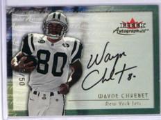 2000 Fleer Autographics Gold Wayne Chrebet auto autograph #D08/50 *32008