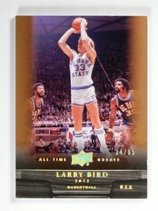 2012 Upper Deck All Time Greats Larry Bird #D34/65 Bronze Indiana State *47599