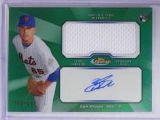 2013 Finest Green Refractor Zack Wheeler Rookie Jersey Autograph #D090/125 *6485