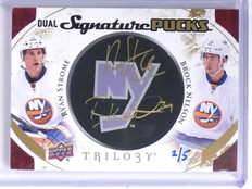 2015-16 Upper Deck Trilogy Pucks Ryan Strome & Nelson autograph #D2/5 *55849