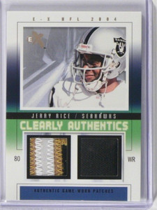 2004 EX E-x Clearly Authentics Jerry Rice 3clr patch & jersey #D04/22 #CA-JR *39