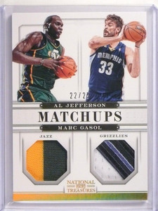 12-13 National Treasures Matchups Al Jefferson & Marc Gasol patch #D22/25 *50627