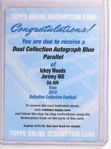 2015 Topps Definitive Ickey Woods & Jeremy Hill autograph auto patch /10 *53426