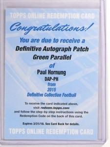 2015 Topps Definitive Green Paul Hornung autograph auto patch /25 *53425