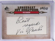 2011 UD SP Legendary Cuts Cut Signatures Vic Raschi Autograph #D09/10 #189 *6568