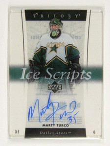 05-06 Upper Deck Trilogy Ice Scripts Marty Turco auto autograph *30813