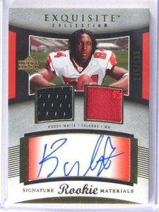 2005 UD Exquisite Roddy White auto autograph patch rc rookie #D145/199 *39135
