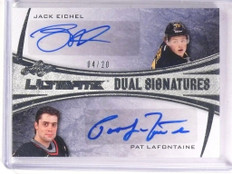 15-16 Leaf Ultimate Signatures Jack Eichel & Lafontaine autograph rc #4/20 *5336