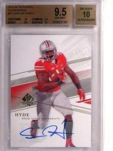 2014 Sp Authentic Carlos Hyde autograph auto rc rookie #21 BGS 9.5 GEM MINT *550