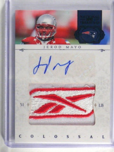 2011 National Treasures Brand Logo Patch Jerod Mayo auto autograph #D 1/1 *34445