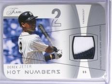 2004 Flair Hot Numbers Diecut Derek Jeter 2 color patch jersey #D03/5 *58377