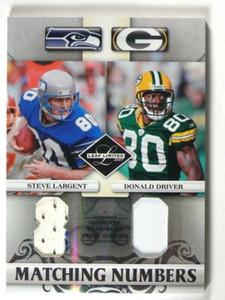 2007 Leaf Limited Numbers Steve Largent & Donald Driver patch #D07/25 *39928
