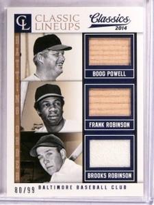 2014 Panini Classics Lineups Powell Brooks Frank Robinson bat jersey /99 *67565