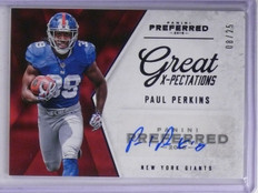 2016 Panini Preferred Purple Paul Perkins Rookie Autograph #D08/25 #345 *65317