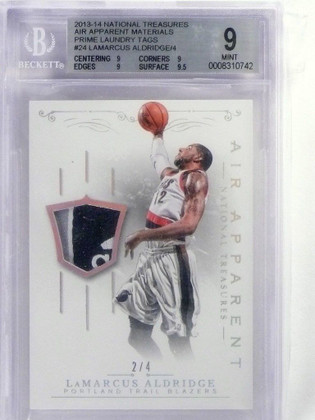 13-14 National Treasures Air Apparent Tag patch Lamarcus Aldridge #D2/4 *48271