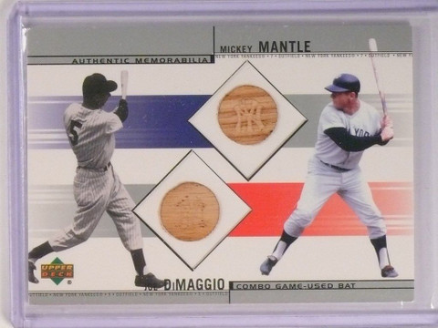 2002 Upper Deck Combo Mickey Mantle & Joe Dimaggio bat #CB-DM *50539