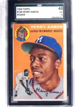 DELETE 15408 1954 Topps Hank Aaron rc rookie #128 SGC 40 = 3 VG *68812