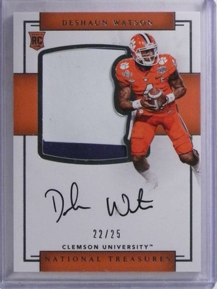 SOLD 15426 2017 National Treasures College Deshaun Watson autograph patch rc #D22/25 *68839