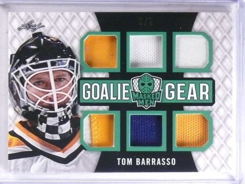 2017 Leaf Masked Men Goalie Gear Tom Barasso 6 piece jersey patch #D5/5 *68959