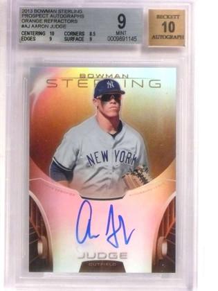 2013 Bowman Sterling Orange Refractor Aaron Judge autograph rc /75 BGS 9 *69197