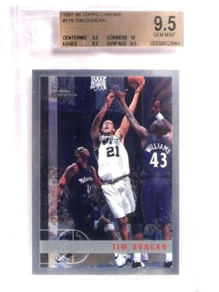 SOLD 15749 1997-98 Topps Chrome Tim Duncan rc rookie #115 BGS 9.5 GEM MINT *69199