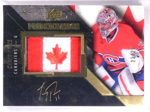 SOLD 15805 2015-16 Upper Deck Black Pride Of A Nation Carey Price autograph #D23/25 *69296