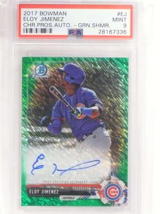 2017 Bowman Chrome Green Shimmer Eloy Jimenez autograph rc /99 PSA 9 *69581