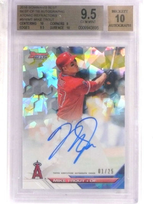 SOLD 16023 2016 Bowman's Best Atomic Refractor Mike Trout autograph #D01/25 BGS 9.5 *69582