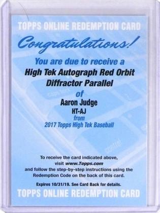 2017 Topps High Tek Red Orbit Aaron Judge autograph auto rc rookie /5 *69778