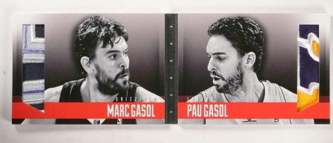 2013-14 Panini Preferred VS Marc Paul Gasol dual 6 clr patch book #D16/25 *69682 ID: 16694