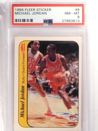 SOLD 16978 1986-87 Fleer Sticker Michael Jordan rookie #8 PSA 8 NM-MT BULLS *69929