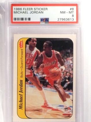 1986-87 Fleer Sticker Michael Jordan rookie #8 PSA 8 NM-MT BULLS *69929