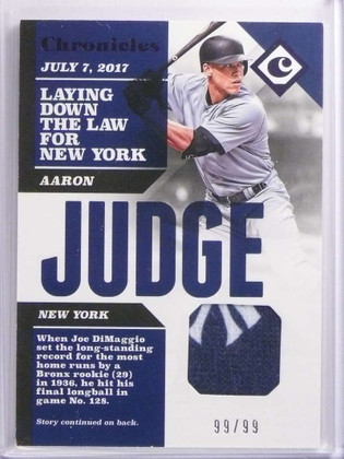 2017 Panini Chronicles Aaron Judge 2clr Yankees patch #D99/99 #CS-AJ *70049