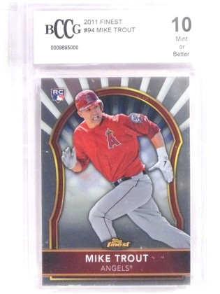 SOLD 18014 2011 Topps Finest Mike Trout rc rookie #94 BCCG 10  *70932