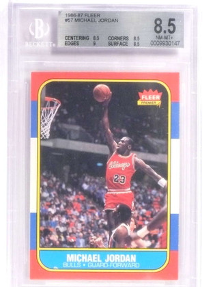 DELETE 18059 1986-87 Fleer Michael Jordan rookie rc #57 BGS 8.5 Nm-MT+  *70926