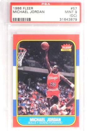 1986-87 Fleer Michael Jordan rookie rc #57 PSA 9 OC Mint *70928