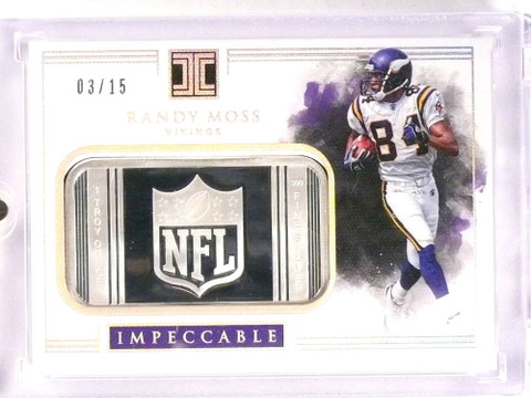 SOLD 18119 2017 Panini Impeccable Silver Ounce Bar Randy Moss #D03/15 #NFL-20 *70976