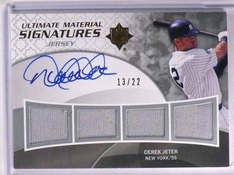 2009 Ultimate Collection Derek Jeter Quad Jersey Autograph auto #D13/22 *71302
