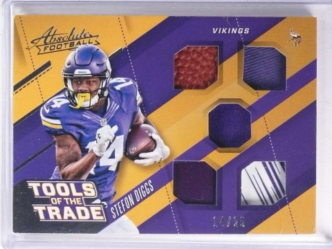 SOLD 18419 2017 Absolute Tools of the Trade Stefon Diggs quad Glove Ball jersey #d/25 *71416