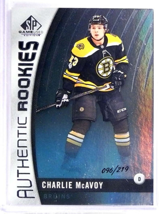 2017-18 UD SP Game UsedRainbow Charlie McAvoy Rookie RC #D096/219 #87 *71669