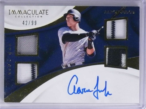 2017 Immaculate Aaron Judge quad jersey patch autograph auto rc #D42/99 *71898
