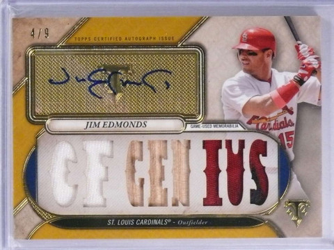 2017 Topps Triple Threads Gold Jim Edmonds autograph auto patch bat #D4/9 *71949