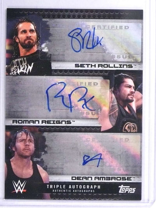 SOLD 19314 2017 Topps WWE Triple Seth Rollins Roman Reigns Ambrose autograph #/10 *71903