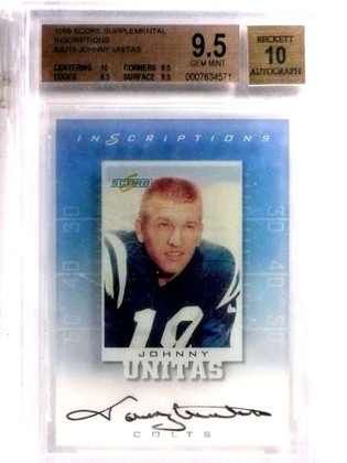 1999 Score Supplemental Inscriptions Johnny Unitas autograph auto BGS 9.5 *72184