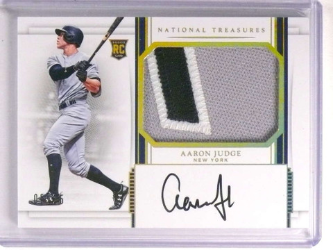 2017 National Treasures Gold Aaron Judge autograph 3clr patch rc #D5/25 *72199