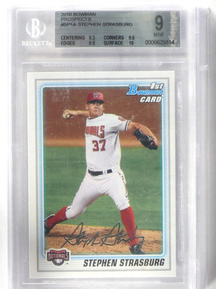 2010 Bowman Prospects Stephen Strasburg rc rookie #BP1A BGS 9 MINT *42207