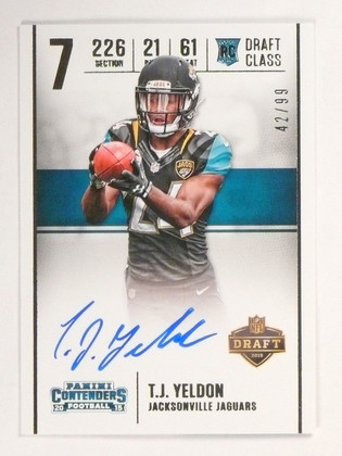 2015 Panini Contenders T.Y. Yeldon Draft Class Autograph Auto #D42/99 #DCTJ *531