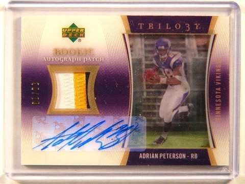 2007 UD Trilogy Adrian Peterson auto autograph 3clr patch rc rookie #D06/33 *412