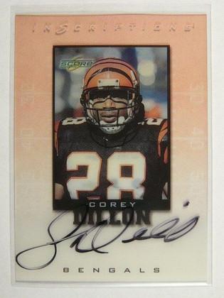 SOLD 8570 1999 Score Inscriptions Corey Dillon auto autograph #CD-28 *31594